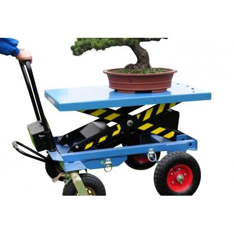 HM - Table élévatrice manuelle tout terrain avec roues pneumatiques (2 modèles)