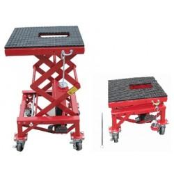 ML04303 - Elévateur manuel hydraulique sur roulettes pour motos / 135 kg .Plateforme : 410 x 350 mm