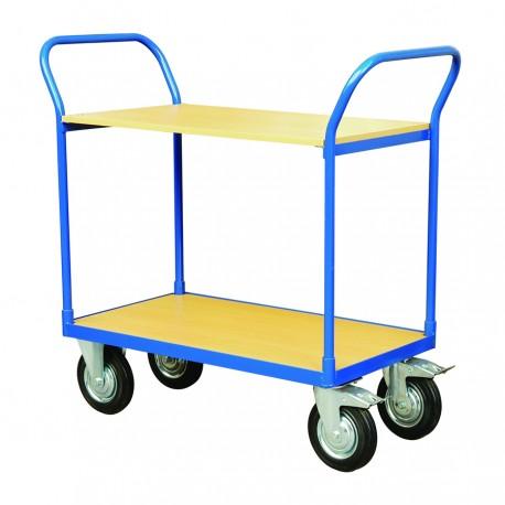 CJ2-250 - Chariot de manutention double plateformes bois Capacité : 250 kg