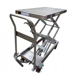 TFD15S - Table élévatrice manuelle semi-inox 350 kg . 910 x 500 mm Elévation : 1295 mm