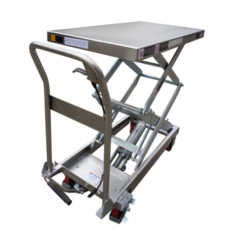TFD35S - Table élévatrice manuelle semi-inox 350 kg . 910 x 500 mm Elévation : 1295 mm